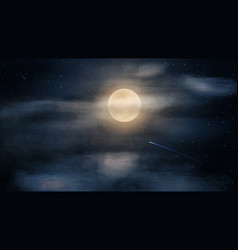 Night dark and blue starry sky with big full moon vector