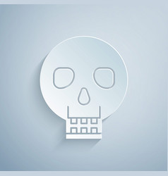 Paper cut skull icon isolated on grey background vector