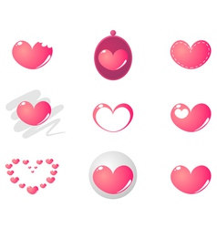 Pink heart valentines set vector image