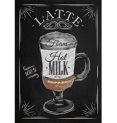 Poster latte chalk vector