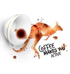 Poster wild coffee kangaroo vector