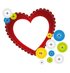 Red heart with bubbles icon vector