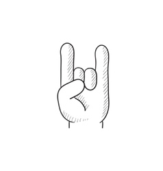 Rock and roll hand sign sketch icon vector image