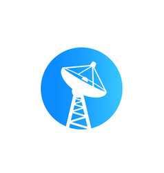 Satellite dish big antenna icon vector