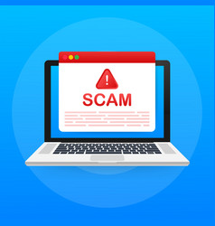 Scam alert hacker attack and web security concept vector