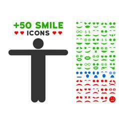 scarecrow pose icon with bonus smiley set vector image