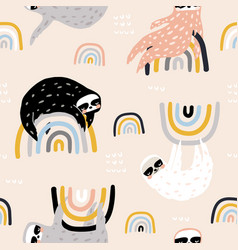 seamless childish pattern with funny sloths on vector image