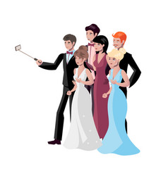 selfie photo composition with people and vector image