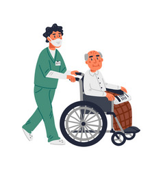 senior patient an elderly man in a wheelchair and vector image
