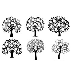 set family trees collection black and white vector image