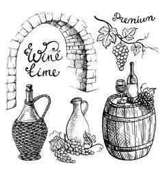 Set of wine bottles and wineglasses barrel vector
