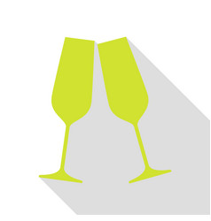 sparkling champagne glasses pear icon with flat vector image