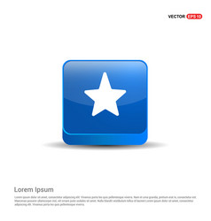 star icon - 3d blue button vector image