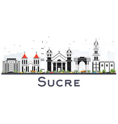 sucre bolivia city skyline with gray buildings vector image