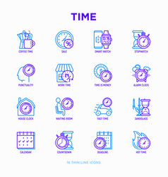 Time thin line icons set vector