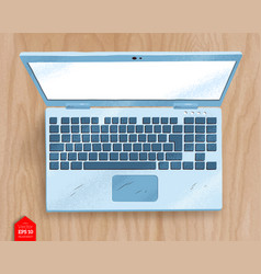 top view of open laptop vector image