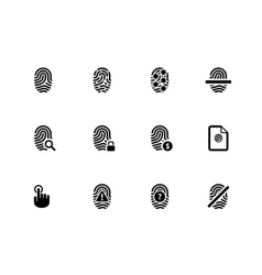 Touch id fingerprint icons on white background vector image