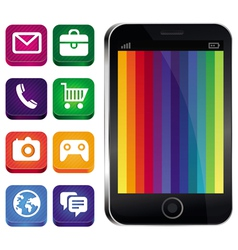 touchscreen phone with rainbow wallpaper vector image