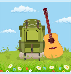 travel pack with giutar vector image