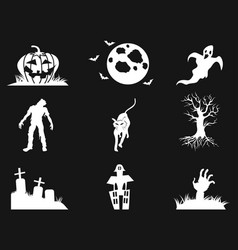 white halloween icons set on black background vector image