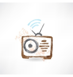 radio grunge icon vector image