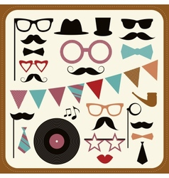 Set of retro party elements Mustaches hats and vector image
