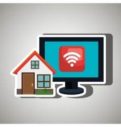 smart home with wifi connection isolated icon vector image
