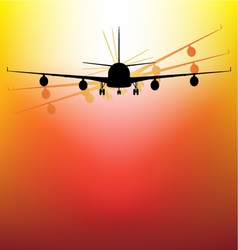 aircraft on sunset vector image vector image