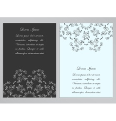 Black and white flyers with ornate floral pattern vector image