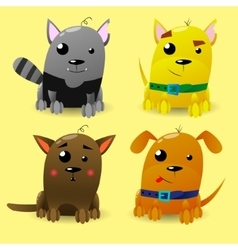 Cat and Dog characters Cartoon styled vector image vector image
