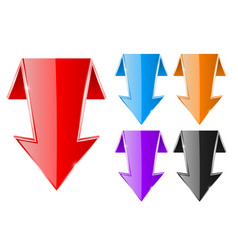 colored down arrows web shiny 3d icons vector image vector image