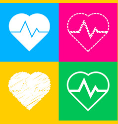 heartbeat sign four styles of icon vector image vector image