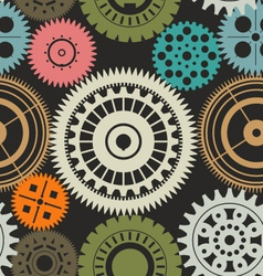 Seamless gear background retro color vector image