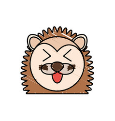 drawing porcupine face animal vector image vector image