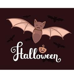 halloween with big bat text pumpkin and fl vector image vector image