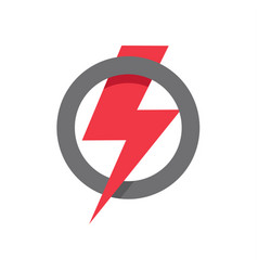 red lightning icon in circle shape power vector image