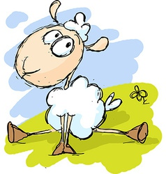 white sheep sitting on green grass - funny vector image vector image