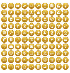 100 help desk icons set gold vector image vector image