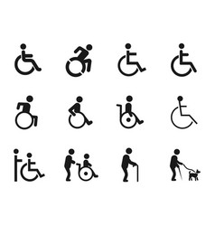 disabled handicap icons vector image vector image
