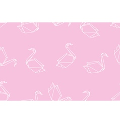 Japanese origami swan seamless linear pattern vector image