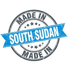 made in South Sudan blue round vintage stamp vector image vector image