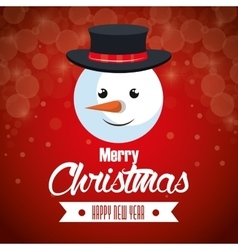 red background card christmas with face snowman vector image