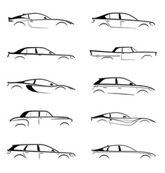 set concept black car silhouette vector image vector image
