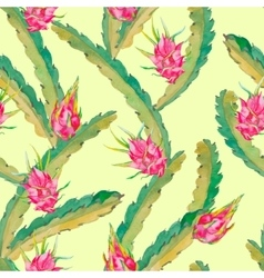 Tropical seamless pattern Exotic leaves and fruit vector image vector image