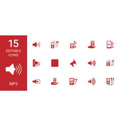 15 mp3 icons vector