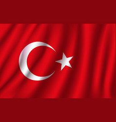 3d flag of turkey turkish national symbol vector