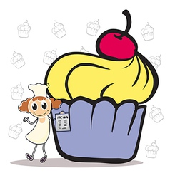 A chef holding a menu beside a giant cupcake vector