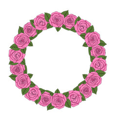 A round wreath of pink roses vector