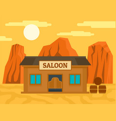 American western saloon concept background flat vector