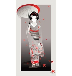 Autumn geisha in gray vector